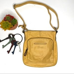 Fossil Mustard Yellow Leather Crossbody Bag